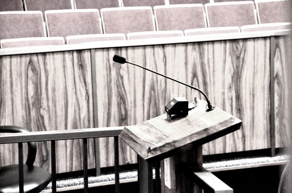 Testifier's podium