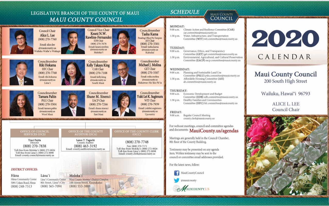 2020 Council Calendar 2