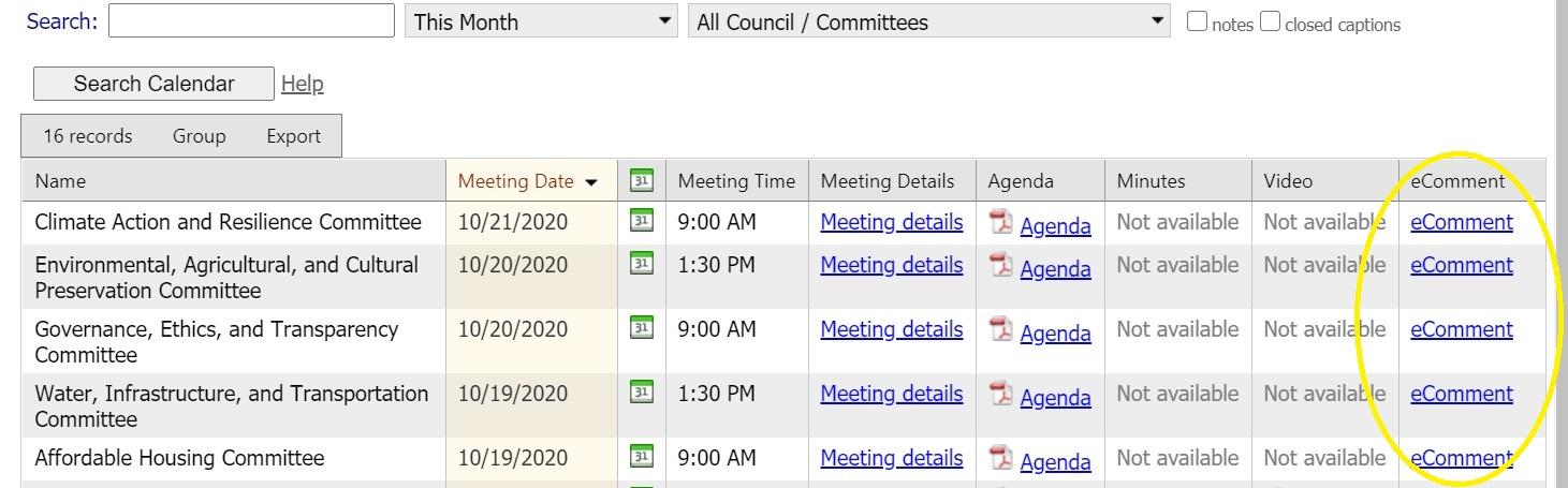 Select meeting agenda